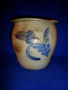 Moore, Nichols, Williamsport, Pennsylvania Stoneware 1g Cream Pot with Tulip #MooreNicholsWilliamsportPennsylvania