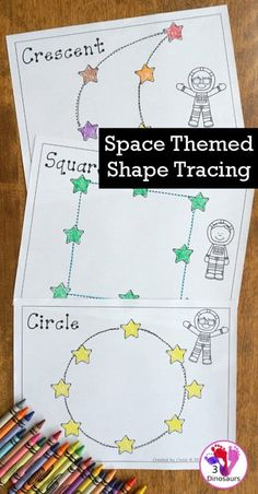Free Fine Motor Fun With Space Shape Tracing - with 8 shapes for kids to trace and color - Space Activities For Kids, Space Theme Preschool, Space Crafts For Kids, Preschool Activities, Les Mathes, Tracing Shapes, Outer Space Theme, Shapes For Kids, Space And Astronomy