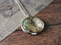 World map necklace  Traveler necklace  Glass dome by LiliaLy