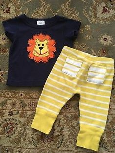 """#ad Baby Boy's HANNA ANDERSSON Wiggle Pants  """"Lion"""" Top Outfit - Size 50 (0-3 Mons) http://rover.ebay.com/rover/1/711-53200-19255-0/1?ff3=2&toolid=10039&campid=5337950191&item=323195481302&vectorid=229466&lgeo=1"""
