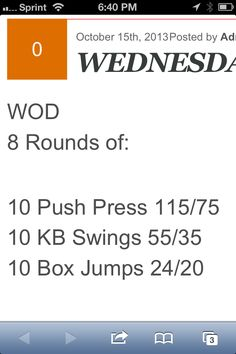 8RFT: 10 Push press (115/75), 10 KB Swings (55/35), 10 Box Jumps (24/20)