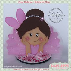 Doce Arte by Pati Guerrato: Bailarina Ballerina Birthday, Baby Girl Birthday, Kids Crafts, Craft Projects, Girls Birthday Party Themes, Birthday Parties, Dance Crafts, Felt Templates, Mermaid Parties