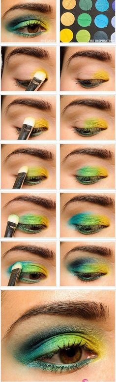 Green and Yellow Eye Makeup Tutorial