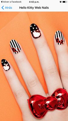 DIY Hello Kitty Stiletto Nail Art ManicureYou can find Hello kitty nails and more on our website. Black Nail Designs, Simple Nail Designs, Nail Art Designs, Manicure Nail Designs, Nail Manicure, Shellac Nails, Nail Polish, Stiletto Nail Art, Acrylic Nails