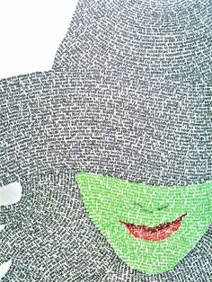 Inspiration :: An art project by ItalicizedKurt.  The words are lyrics of some of the songs from Wicked, & the green face is Defying Gravity.  #art #journal