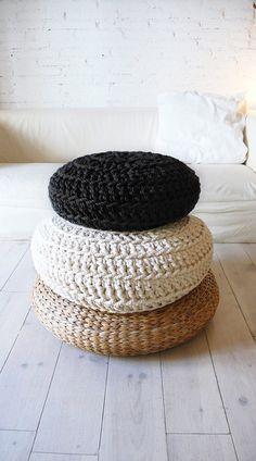 Image of Floor Cushion Crochet - Thick Cotton - Black