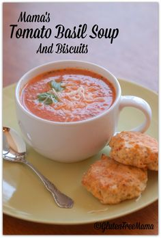 – Quick Tomato Basil Soup and Gluten Free Sun Dried Tomato Biscuits From Gluten Free Mama- going to sub coconut creamer for the cream to make this dairy free Gluten Free Soup, Gluten Free Recipes For Dinner, Allergy Free Recipes, Gf Recipes, Foods With Gluten, Gluten Free Cooking, Food Network Recipes, Soup Recipes, Cooking Recipes