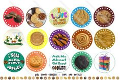 Girl Scout Cookies 1 Inch Circles Collage Sheet by topsandbottles Girl Scout Cookie Meme, Girl Scout Cookie Sales, Girl Scout Cookies, Girl Scout Swap, Girl Scout Leader, Girl Scout Troop, Bottle Cap Jewelry, Bottle Cap Crafts, Bottle Caps
