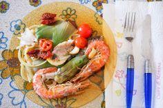 Chili, krewetki, frutti di mare, owoce morza