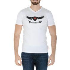 ec8404a47195 Andrew Charles Mens T-Shirt Short Sleeves V-Neck White KENAN