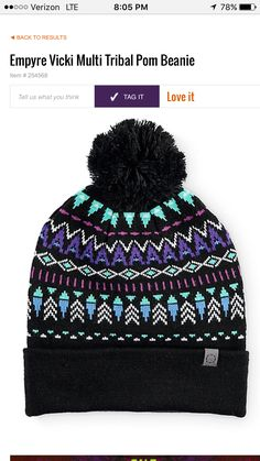 low priced 8b318 8aba5 Gear up for the cold weather with the styling of this cuffed beanie that  features a colorful tribal design at the body and a solid black pom at the  top.