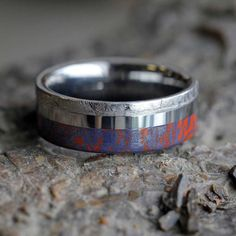 Blue and Red Mokume Wedding Band with Meteorite Ring on Tungsten