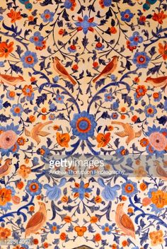 Nightingale ceiling fresco at the Fin Garden, Kashan, Esfahan Province, Iran