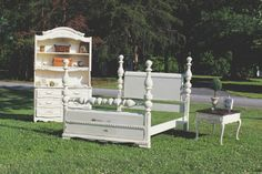 SHABBY CHIC CUSTOM PAINTED OLD WHITE BED, DRESSER, HUTCH AND NIGHTSTAND FROM VINTAGE VISION FURNITURE IN HUDSON, NC.  SEE MORE AT:  http://www.facebook.com/vintagevisionstore