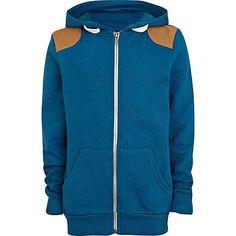 Boys teal shoulder patch hoodie £15.00