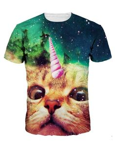 Ninimour Unisex Katze Pattern 3D Bedruckt Casual Strassenmode T-Shirt