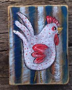 Chicky Chick Rustic Original Folk Art Painting Illustration Prim A Gambrel | eBay