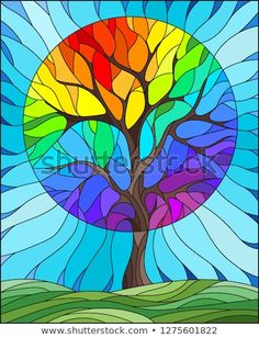 in stained glass style with abstract rainbow tree, meadow and sky b. Illustration in stained glass style with abstract rainbow tree, meadow and sky b.Illustration in stained glass style with abstract rainbow tree, meadow and sky b. Stained Glass Crafts, Stained Glass Patterns, Dot Painting, Fabric Painting, Glass Painting Designs, Rainbow Art, Rainbow Images, Arte Pop, Tree Art