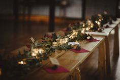 Foliage and candle table decor for a Woodland Inspired Autumn Wedding. Photography by Green Antlers