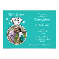 Diamond ring engagement party invitation, with photo, turquoise