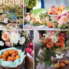 peaches, white, wood, glass, and turquoise!
