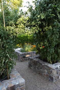 Stone on gravel, though we want a more natural look than this--a dry stacked stone look