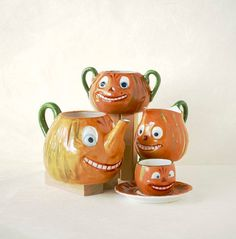Vintage Halloween Pumpkin Tea Set by TheOtherLifeVintage on Etsy, $425.00