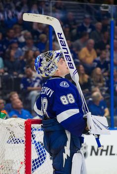 TAMPA, FL - DECEMBER Goalie Andrei Vasilevskiy of the Tampa Bay Lightning reacts to giving up a goal against the Montreal Canadiens during second period at Amalie Arena on December 2018 in Tampa, Florida. (Photo by Scott Audette/NHLI via Getty Images) Nhl Lightning, Toronto Maple Leafs Wallpaper, Tampa Bay Lighting, Nhl Games, Tampa Florida, Montreal Canadiens, Stanley Cup, Ice Hockey, Thunder