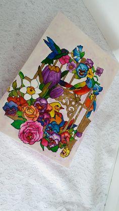Caixa pintada a mão Passaros e Flores