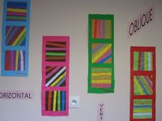verticales horizontales obliques Kindergarten Art Lessons, Kindergarten Art Projects, Art Lessons Elementary, High School Art, Middle School Art, Steam Art, Shape Art, Math Workshop, Elements Of Art