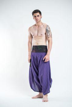 Men's Pinstripe Button Up Cotton Pants with Hill Tribe Trim Violet – Harem Pants
