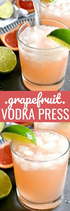 If you love grapefruit, this Grapefruit Vodka Press is for YOU! The perfect balance of sour and sweet.and so refreshing for summer! Cocktails For Parties, Summer Cocktails, Party Drinks, Cocktail Drinks, Fun Drinks, Cocktail Recipes, Beverages, Drink Recipes, Cocktails 2018
