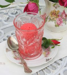 Red Raspberry-Wild Rose Sorbet, recipe by Julia M. Usher