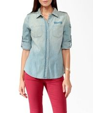 Denim button ups are perfect for pairing underneath sweaters for fall!