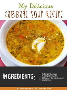 Recipe This   40 Soup Maker Recipes To Cook In The Soup Machine Cabbage Soup Diet, Cabbage Soup Recipes, Vegetarian Cabbage, Ramen, World Recipes, Soups And Stews, Appetizer Recipes, Healthy Snacks, Zucchini