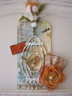 ♥ this Birdcage Tag, would be ideal for an ornament/door hanger.