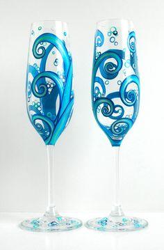 Ocean Waves Wedding Toasting Flutes  Set of 2 by MaryElizabethArts, $120.00