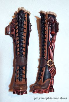 custom painted Robecca Steam Monster High doll boots - Who wouldn't kill for these IRL?