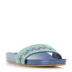 DUNE LADIES LAIZER - Chevron Embellished Slider Sandal - blue   Dune Shoes Online