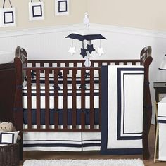 Hotel White & Navy 9-Piece Baby Crib Bedding Set by Sweet Jojo Designs