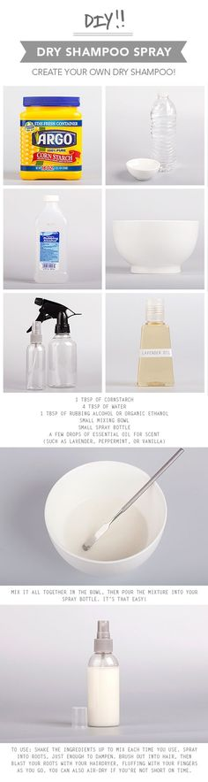 DIY Spray-On Dry Shampoo, I might just have to try this. Im just wondering how it will effect my hair color?