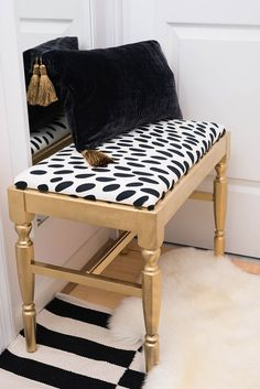 gold home accents DIY bench. Black and white. Small chic and glam master bedroom. One Room Challenge - The Reveal! Chic Master Bedroom Splendor Styling Bench - DIY w/IKEA fabric Home Living, Apartment Living, Apartment Therapy, Chic Master Bedroom, Bedroom Black, Black White And Gold Bedroom, Black And Gold Living Room, Black Gold Decor, Black And Gold Bathroom