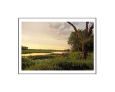 PHOTO PRINT LANDSCAPE SUNSET COLOR MATTED 8 X 10 OPENING  FOR  11 X 14 FRAME #Handmade #Realism