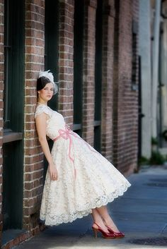 Dream Dress. if the lace was polka dot tulle, it would be perfect! #wedding #dress #50's