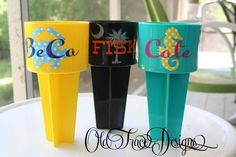 Beach Drink Holder Spiker with two colors - Keep Your Drink, Cell Phone or Keys Sand Free this Summer on Etsy, $10.00