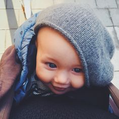 """""""Dad, I'm 7 months old today so I borrowed your beanie. I felt like a baby in my old hat."""""""