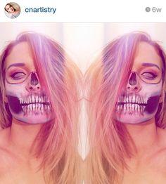 Half Skull Face, Halloween Face Makeup, Creativity