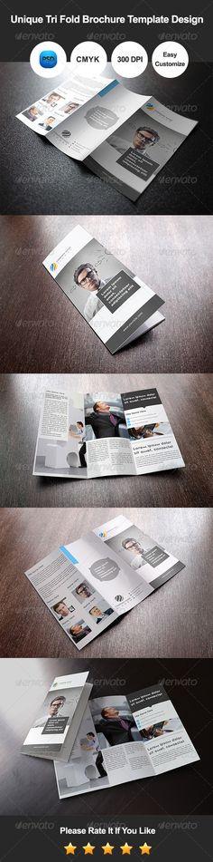 Unique Tri Fold Brochure Template Design - #Corporate #Brochures Download here: https://graphicriver.net/item/unique-tri-fold-brochure-template-design/7829100?ref=alena994