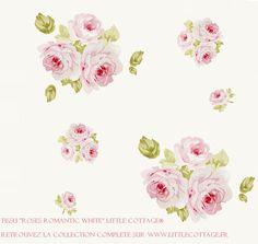 """""""Roses Romantic white"""" Fait partie de la collection de tissus Little Cottage® -  Une collection qui vous plonge dans l'univers Shabby """"Prairie style"""" du cottage. Roses anciennes et couleurs poudrées sont à l'honneur pour que vous puissiez recréer chez vous une ambiance so'british dans le plus pure Shabby prairie style. Disponible sur www.littlecottage.fr ou sur http://www.alittlemercerie.com/boutique/little_cottage_shop-629997.html"""