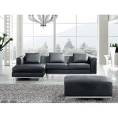 Sectional Sofa with Ottoman R - Black Leather OSLO #leathersectionalsofas